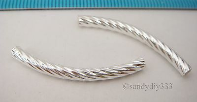 6x STERLING SILVER 3 ROW TWIST CURVE TUBE SPACER BEAD 5.4mm 9mm #1629