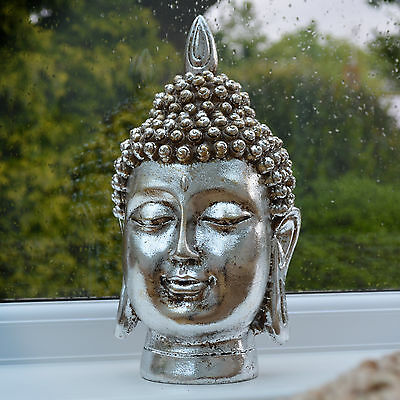 LARGE Buddha Head Statue Sculpture Figure Ornament Antique Silver & Gold 33079