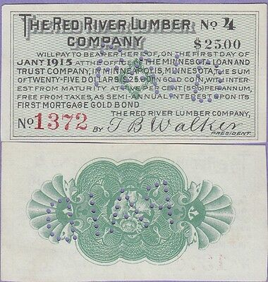 The Red River Lumber Company-Minnesota, Bond Coupons of $25 Dollars in Gold 1915