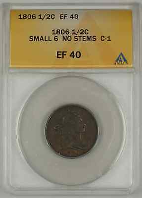 1806 Draped Bust Half Cent Coin ANACS Small 6 No Stems C-1 EF-40