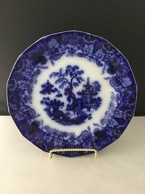 "Antique Flow Blue & White 9 1/4"" Plate ""Scinde"" Pattern By T. Walker. #1473"