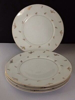 "4 Meito China 10 1/2"" Dinner Plates White With Gold Floral Japan            #90"