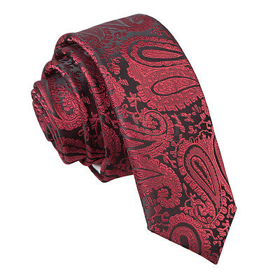 New Dqt High Quality Paisley Men's Wedding Skinny Tie - Burgundy