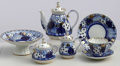 Tea set 6/22 pcs DOMES Cobalt & 22K-gold, Lomonosov Imperial Porcelain, Russia