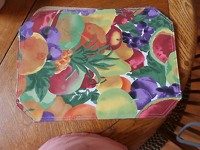 Set of 4 Placemats Bright Multicolor Polyester,Fruit Design, reversible