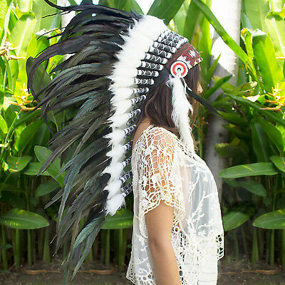SUPER FAST!! Long Native American Indian style Feather Headdress - Black Rooster