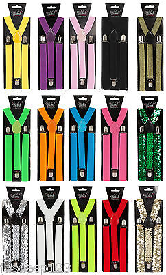 Adult Braces Mens Ladies Unisex Fancy Dress Trouser Suspenders Clip On Clown Fun