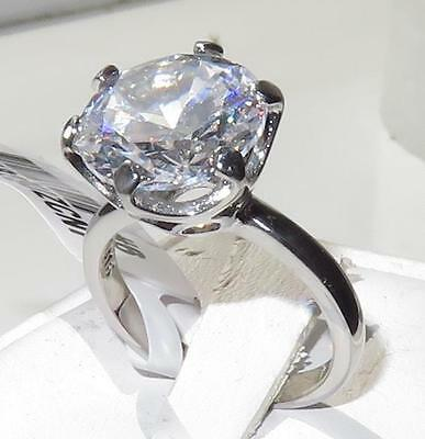 TK1823 12mm 6CT  SOLITAIRE SIMULATED DIAMOND ENGAGEMENT RING STAINLESS STEEL