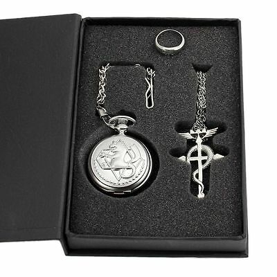 Cosplay Full metal Alchemist Edward Elric Costume Pocket Watch Necklace Ring NEW