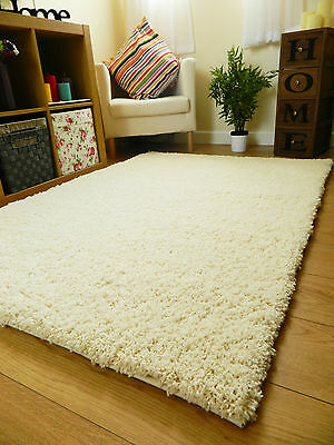 New Bright Non Shed Thick Ivory Shaggy Rug Large Small Runners Mats Uk