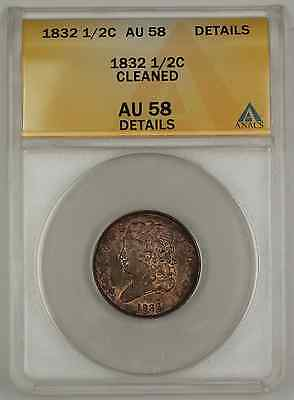 1832 Classic Head Half Cent Coin ANACS Cleaned AU-58 Details