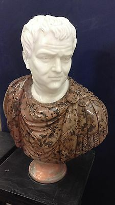 Roman Centurion Marble Bust Statue Display Home Living Room Entry Way ST-27