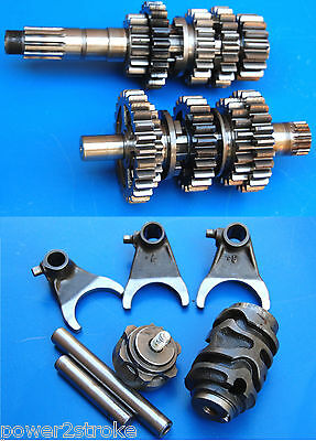 2001 CR250R CR250 transmission tranny gears input output drive shafts shift fork