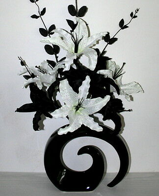 Artificial flowers large black white lily silk flower arrangement artificial flowers large black white lily silk flower arrangement in vase mightylinksfo
