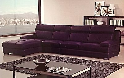 Marvelous Modern Contemporary Euro Dark Purple Leather Sectional Sofa Ncnpc Chair Design For Home Ncnpcorg