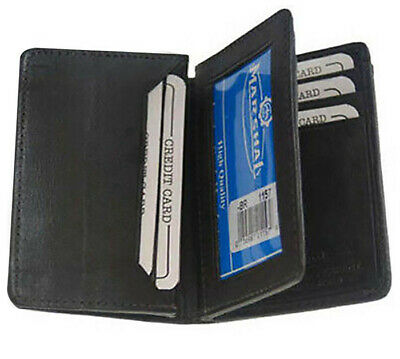 Black Men GENUINE LEATHER ID  Bifold Credit Card Expandable Holder Center Flap
