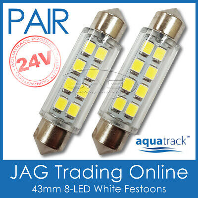 2 x 24V 43mm 8-LED WHITE FESTOON LIGHT GLOBES -Truck/Trailer/Caravan/RV/Interior
