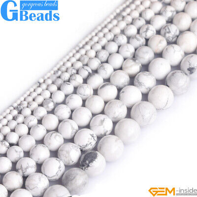 "Natural White Howlite Turquoise Gemstone Round Beads Free Shipping 15"" 4mm-16mm"
