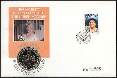 Isle Of Man 1990 The Queen Mother Coin FDC Cover #C24400