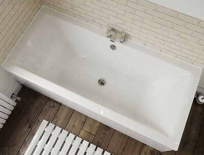 1700 x 700 Straight Standard Bath Bathroom Acrylic Square Double Ended White