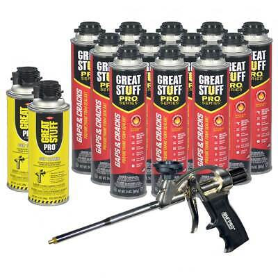 Dow Great Stuff PRO Gap and Cracks, 24oz, Case of 12 + Foam Gun + 2 Cans Cleaner