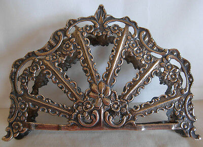 OLD  GERMAN 800 SILVER NAPKIN HOLDER WITH FLOWERS- - 97.7 grams