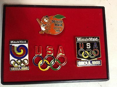 1988 Seoul Minute Maid Olympic Collector Pin Set (Lot Of 4 Pins)