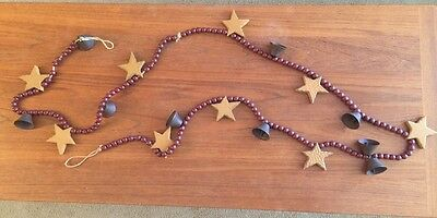 Primitive COUNTRY DECOR Wood Bead & Stars, Metal Bell 8' GARLAND