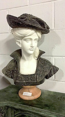 Colonial Era Female Multi-Colored Granite Bust  Entry Hallway Decorative ST-31