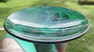 1 x GREEN GLASS PLATE - CANDLES ALTAR PLATE Wicca Pagan Witch Goth HEART CHAKRA