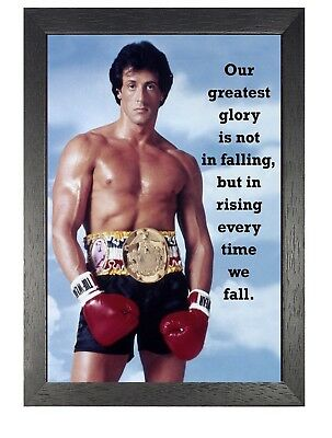 Rocky13 Balboa Black White Motivation Inspiration Quote Poster Boxer Fight Sport