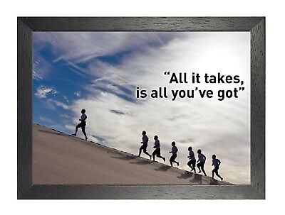 Running Motivation- All It Take Is All You've Got Quote Poster Inspiration Sport