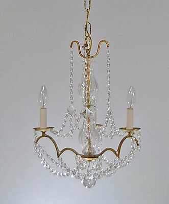 Vintage Italian Brass Tone and Chrystal Chandelier with Three Arms