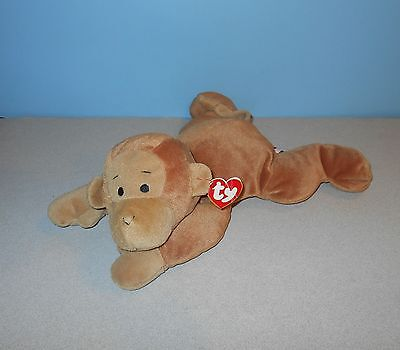 """1997 Ty Pillow Pals 14"""" Stuffed Plush Swinger The Cocoa Monkey w/ Bow"""