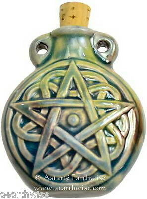 PENTAGRAM RAKU SPELL BOTTLE 10 mls Wicca Witch Pagan Goth Shaman PENTACLE