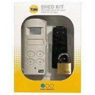 Yale Shed Kit PIR Siren Alarm 130dB Keypad Brass Padlock 40mm Black Hasp