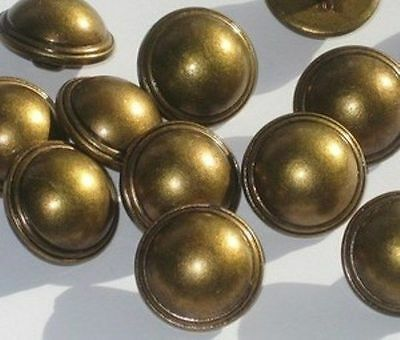 Set 12 Antiqued Brass Tone Vintage New Dome Buttons 11/16""