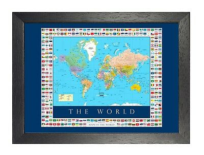 The Map And Flags Of The World Poster Travel Country Ocean Islands Picture Print