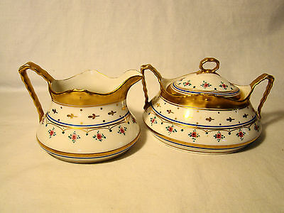 "Coiffe ""Old Limoges"" Porcelain Creamer & Sugar Bowl c.1891-1920"
