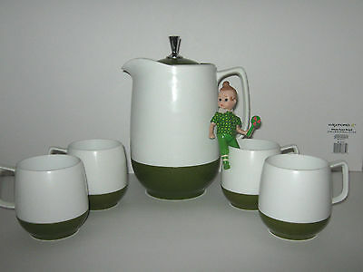 Thermos Insulated Ware Pitcher Hot or Cold 4 Mugs Retro Green Vintage Kitchen