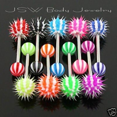 T#30 - 8 Koosh Candy Stripe Tongue rings 14 gauge