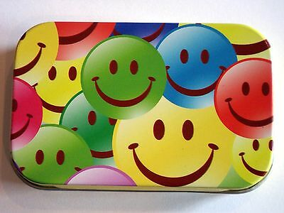 new slim 1oz hinged tobacco tin laughing smiley faces