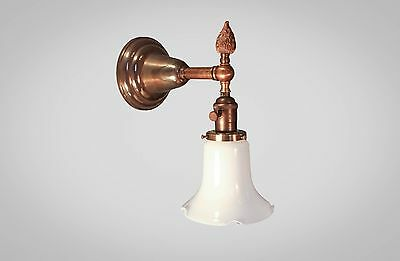 Antique Victorian Wall Sconce - Art Deco Lamp w/ Holophane - Steampunk Light