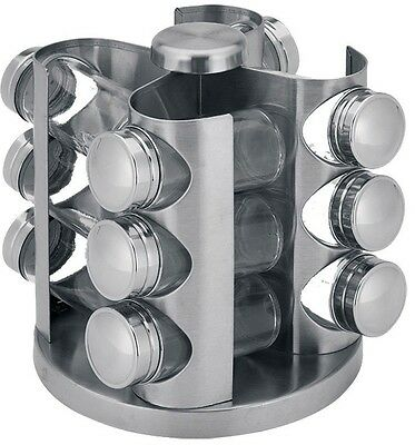 Y7860160 Stainless Steel Revolving Spice Rack & 12 Glass Jars