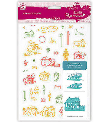 Tampons transparents PaperMania VILLAGE planche A5 scrapbooking clear stamps