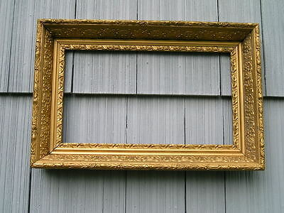Antique Aesthetic Eastlake Victorian Deep Ornate Gold Picture Frame 9 1/2~16 1/2
