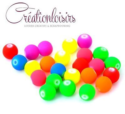 Lot de 50 perles multicolore fluo  - Diam. 8 mm - Couleur mixte