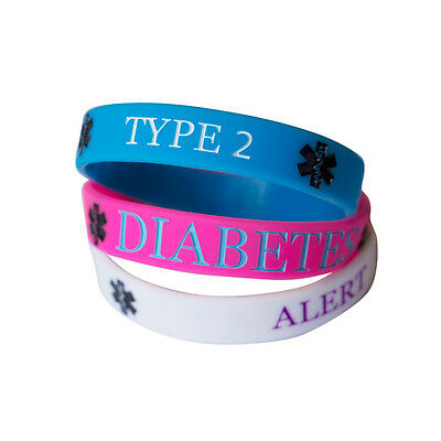 DIABETES TYPE 2 MEDICAL wristband silicone bracelet bangle AWARENESS ALLERGY