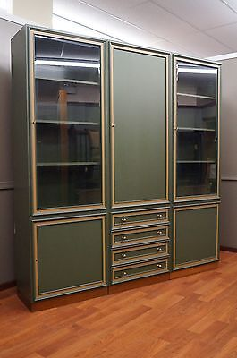 Large Bookcase Display Curio Wall Unit Original Avocado Green Mid Century Modern