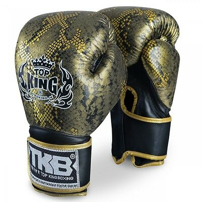 Top King Snake Skin MUAY THAI Boxing Gloves LEATHER 8OZ 10OZ 12OZ 14OZ 16OZ